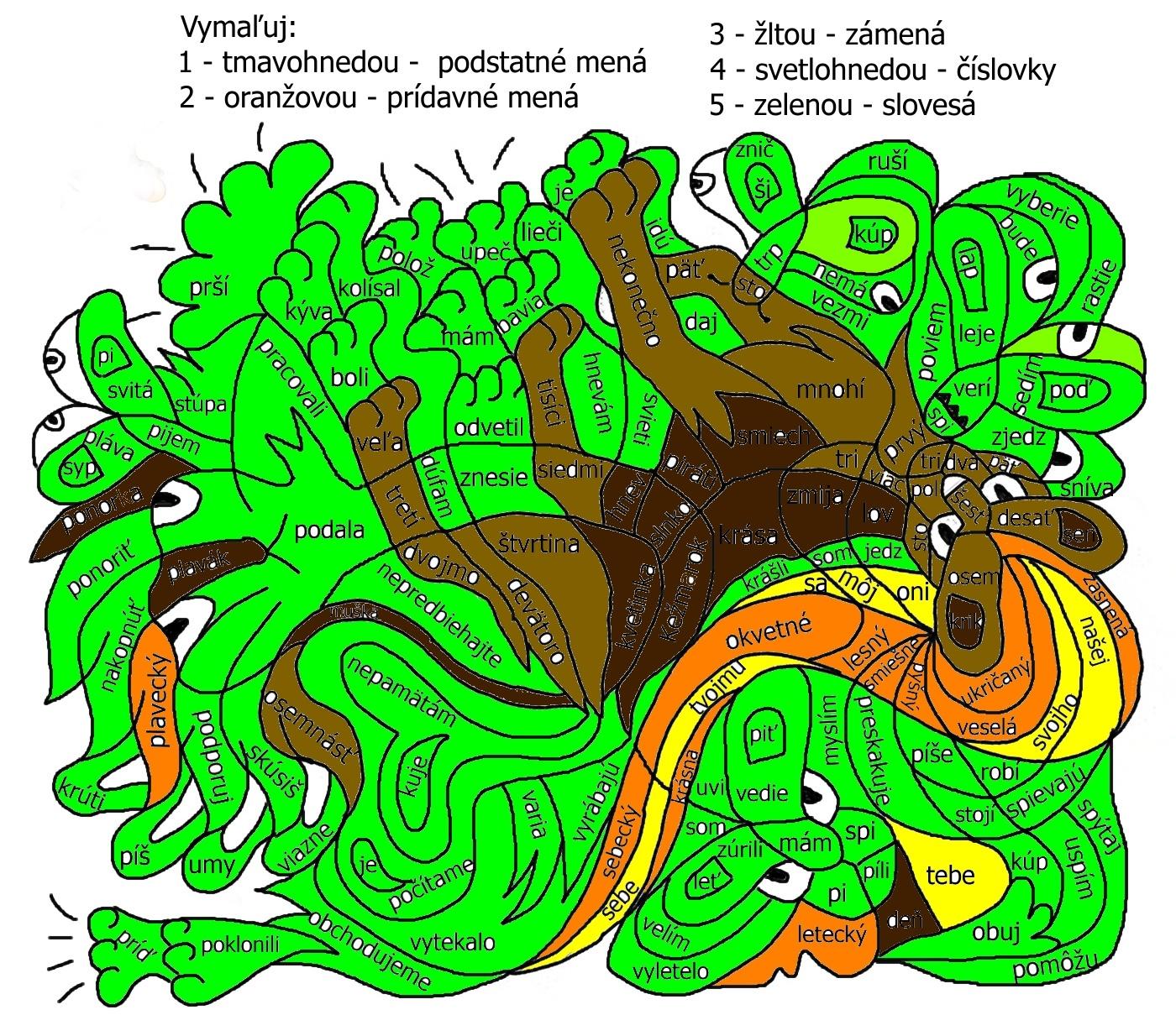 slovne druhy omalovanka litleo-riesenie